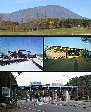 Takizawa, Iwate - upper: Mount Iwate  , upper-middle: Iwate Prefectural University  lower-middle: Takisawa Station Takizawa C