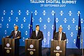 Tallinn Digital Summit. Press conference Donald Tusk, Jüri Ratas and Jean-Claude Juncker (36722574543).jpg