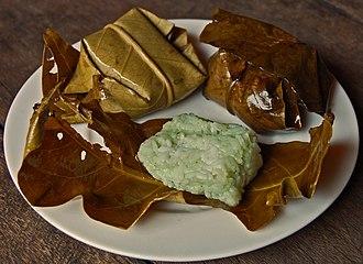 Tapai - Tapai ketan, fermented glutinous rice wrapped in leaf, Kuningan, West Java.