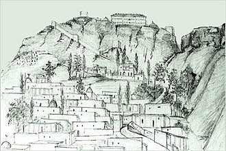 Tarki - Tarki, view from the Caspian Sea, 1839, Milyutin.
