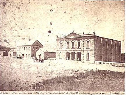 Wheat mill and theatre of Vicente Gallardo; Hacienda Atequiza, Jalisco, Mexico, 1886. Teatro de Atequiza, Mexico.JPG