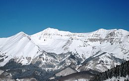 A view in Telluride from the ski slopes by Mountain Village