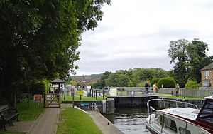 Temple Lock - Temple Lock looking downstream toward Temple Mill Island
