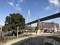 Tempozan Bridge and Stele for Visit of Emperor Meiji in Tempozan Park.jpg
