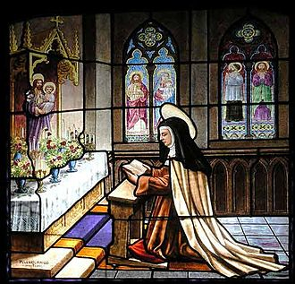 Teresa of Ávila - Church window at the Convent of St Teresa
