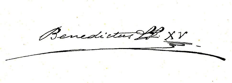 Benedict XV's signature