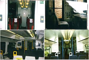 Thames Trains - Pictures of various Thames Trains Thames Turbo/Turbo Express interiors and a cab shot are from 2000 to 2004 are of the following parts - (clockwise, from top left) 1st class, the driver's cab, 2nd class Class 166 seats and 2nd class Class 165 seats.