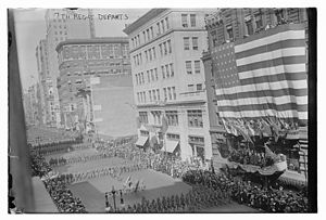 New York State Division of Military and Naval Affairs - Image: The 7th Regiment, New York National Guard, later the 107th Infantry Regiment, marched off to war on September 11, 1917