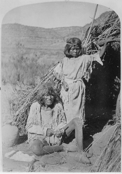 File:The Arrow Maker and his daughter, Kaivavit Paiutes, in front of their home, northern Arizona, 10-04-1872 - NARA - 517726.jpg