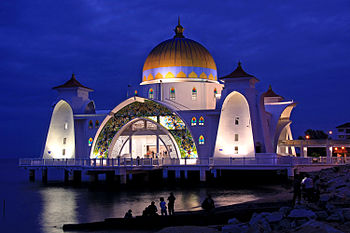 Malacca Straits Mosque.The Malacca Straits Mosque is a mosque located on the man-made Malacca Island near Malacca City