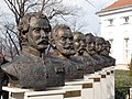 The Busts of the thirteen martyrs of Arad (right group) in the courtyard of the Museum of Military History. - Arpad Toth Promenade 40, Buda Castle Quarter, Budapest.JPG