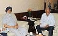 The Chief Minister of Punjab, Shri Parkash Singh Badal calling on the Union Minister for Civil Aviation, Shri Ashok Gajapathi Raju Pusapati, in New Delhi on June 19, 2014.jpg