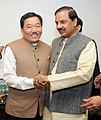 The Chief Minister of Sikkim, Shri Pawan Chamling meeting the Minister of State for Culture (Independent Charge), Tourism (Independent Charge) and Civil Aviation, Dr. Mahesh Sharma, in New Delhi on December 03, 2015.jpg