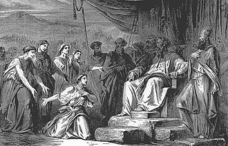 Masei - The Daughters of Zelophehad (illustration from the 1908 Bible and Its Story Taught by One Thousand Picture Lessons)