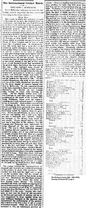 English cricket team in Australia and New Zealand in 1876–77 - 1877 newspaper article describing the first two days of the first match