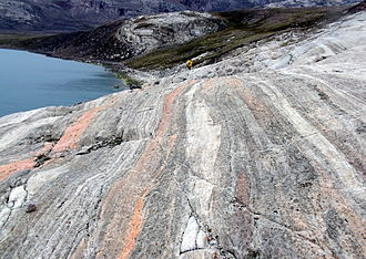 Nunavut - Glacially polished banded coloured marble on Baffin Island