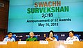 The Minister of State for Housing and Urban Affairs (IC), Shri Hardeep Singh Puri addressing a press conference on Swachh Survekshan 2018, in New Delhi.JPG