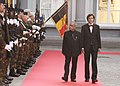 The President, Shri Pranab Mukherjee inspecting the Guard of Honour, during a Ceremonial Welcome, at Egmont Palace, Brussels in Belgium on October 03, 2013. The Prime Minister of Belgium, Mr. Elio Di Rupo is also seen.jpg