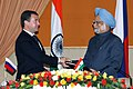 The President of Russia, Mr. Dmitry A. Medvedev and the Prime Minister, Dr. Manmohan Singh exchanging the signed Joint Declaration between the Russia and India, in New Delhi on December 05, 2008.jpg