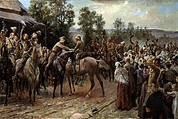 Painting showing a group of soldiers on horseback waving their hats as they greet a rider. A crowd on foot watches.
