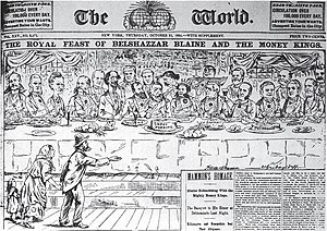 Walt McDougall - Image: The Royal Feast of Belshazzar Blaine and the Money Kings (1884) 2