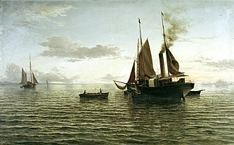 Cheviot, New Zealand - The Wool Season depicting the steamer Wakatu off Port Robinson, 1885, by John Gibb oil on canvas