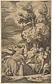 The entombment of Christ, the crosses on Calvary visble in left background MET DP812428.jpg