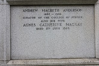 Andrew Anderson, Lord Anderson - The simple memorial to Andrew MacBeth Anderson, Dean Cemetery