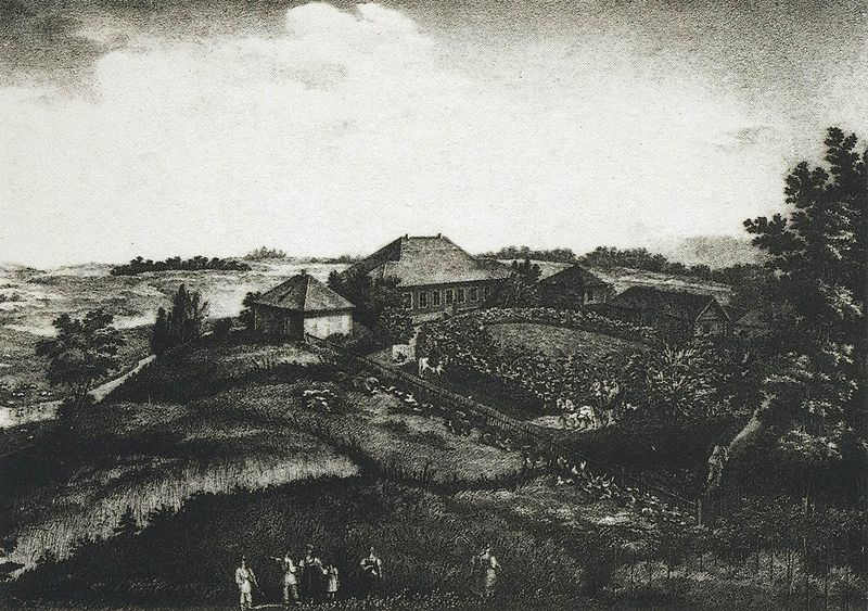 File:The village of Mikhailovskoye. 1837 Pskovskaya oblast.jpg