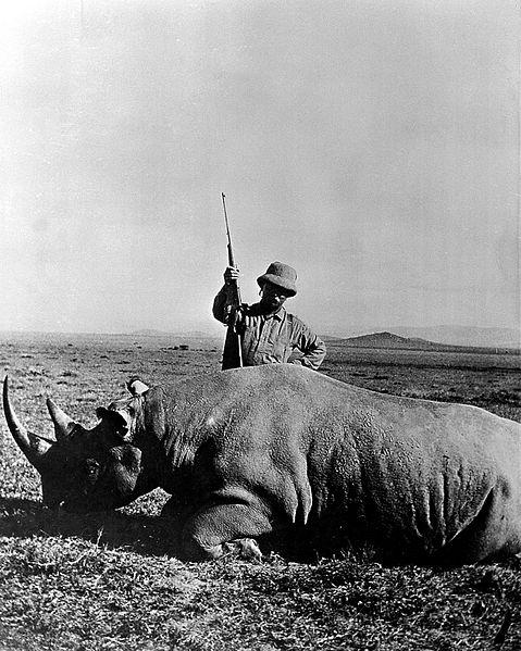 File:Theodore Roosevelt in 1909, beside a rhinoceros. Wellcome L0002108.jpg
