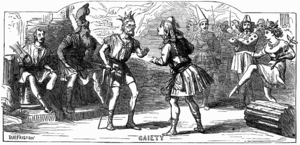 A contemporary illustration of Gilbert and Sullivan's first opera, Thespis.
