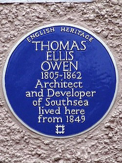 Thomas ellis owen 1805 1862 architect and developer of southsea lived here from 1849
