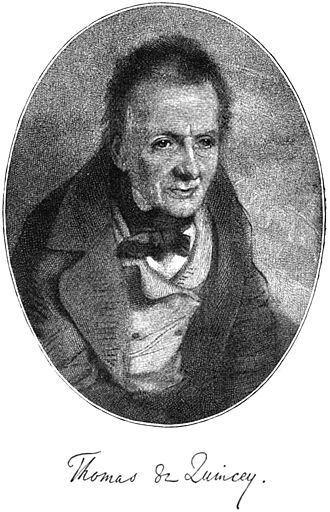 Opium and Romanticism - Thomas de Quincey from the frontispiece of De Quincey's Revolt of the Tartars by Charles Sears Baldwin.