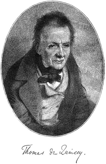 Thomas de Quincey from the frontispiece of De Quincey's Revolt of the Tartars by Charles Sears Baldwin. Thomas de Quincey - Project Gutenberg eText 16026.jpg