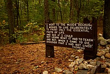 Thoreaus quote near his cabin site, Walden Pond.jpg