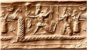 Tiamat on a Babylonian cylinder seal Nederland...