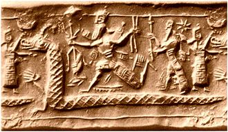 Tiamat - Neo-Assyrian cylinder seal impression from the eighth century BC identified by several sources as a possible depiction of the slaying of Tiamat from the Enûma Eliš