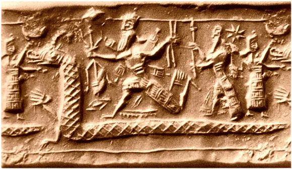 Neo-Assyrian cylinder seal impression from the eighth century BC identified by several sources as a possible depiction of the slaying of Tiamat from the Enuma Elis Tiamat.JPG