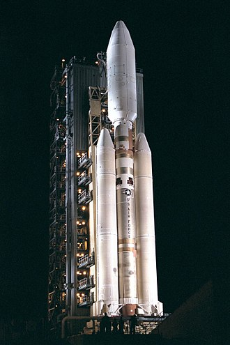 Cape Canaveral Air Force Station Space Launch Complex 40 - A Titan IV rocket with the Cassini–Huygens payload at SLC-40 in 1997