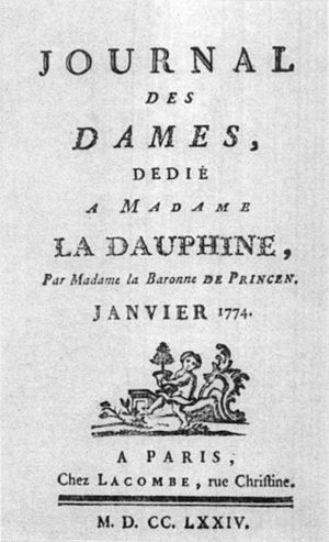 Léonard Autié - Image: Title page of the 'Journal des Dames', Paris, Jamuary 1774 Bashor 2013 p 63