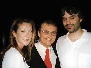 Tony Renis - Tony Renis with Celine Dion and Andrea Bocelli in 2002.