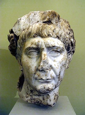 Lyctus - Marble portrait of the Roman Emperor Trajan (98-117 AD), found at Lyctus. Archeological Museum of Iraklio