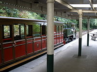 Train for Tywyn, stands at Abergynolwyn station - geograph.org.uk - 1415295.jpg