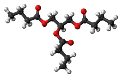 Ball-and-stick model of the butyrin molecule