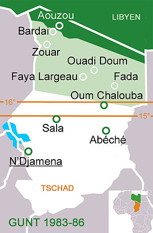 "Chadian–Libyan conflict - GUNT-controlled area in Chad until 1986/87 (light green), ""red line"" on the 15th and 16th parallels (1983 and 1984) and Libyan-occupied Aouzou Strip (dark green)"