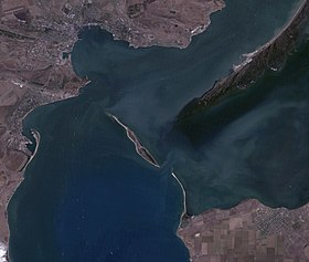 Tuzla, Kerch Strait, near natural colors satellite image, LandSat-5, 2011-08-30.jpg
