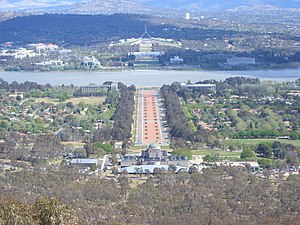 English: Canberra from Mount Ainslie with Parl...