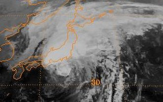 1998 Pacific typhoon season - Image: Typhoon Stella 1998 landfall