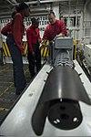 U.S. Navy Aviation Ordnanceman 1st Class Sean Nolan, right, conducts maintenance training on an M197 machine gun aboard the aircraft carrier USS Harry S. Truman (CVN 75) in the Gulf of Oman Jan. 3, 2014 140103-N-IG780-033.jpg
