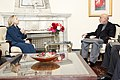 U.S. Secretary of State Hillary Rodham Clinton meets with Afghan President Hamid Karzai at the presidential palace in Kabul, Afghanistan 111020-S-PA947-421.jpg